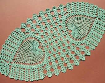 """Green crochet doily, oval doily, oval lace doily, oval lace topper, green tablecloth, centerpiece, runner, 22""""x 12"""""""