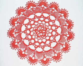 Red crochet doily , lace doily , round , 15 inches , pastel red