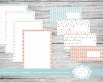 Digital Letter Paper, Printable Fancy Craft Envelopes A5 Letter Paper, Assorted Envelopes Set, Pink & Blue Envelopes