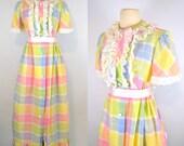 1980s Rainbow Pastel Checkered A-Line Midi Dress, Full Length Skirt