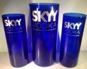 Skyy Vodka Recycled Cobalt Bottle Pitcher Set