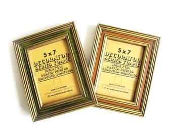 Vintage 70's Wooden Frames Orange Avocado Green Aaron Brothers Art Mart