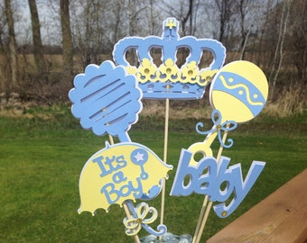 Baby Shower Table Decoration Centerpiece Prince Blues Yellow and White
