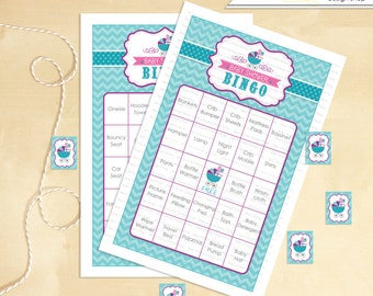 Baby Shower Bingo 30 cards Carriage  - Instant Download
