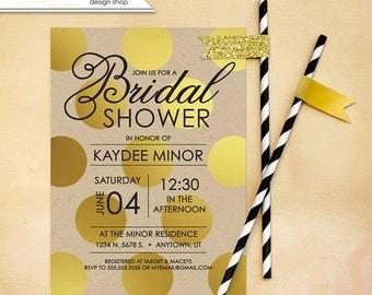 Bridal Shower Invitation Wedding Shower Invite Gold and Craft Bachelorette Printable wedding Custom DIY