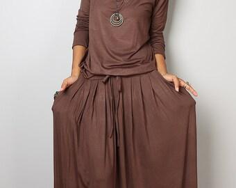 Brown Maxi Dress - Soft Brown Long Sleeve Dress : Autumn Thrills Collection No.1s (Best Seller)
