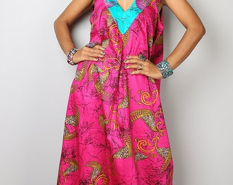 Hot Pink Dress / Boho Cotton Summer Dress : Kiss of the Sun Collection No. 2