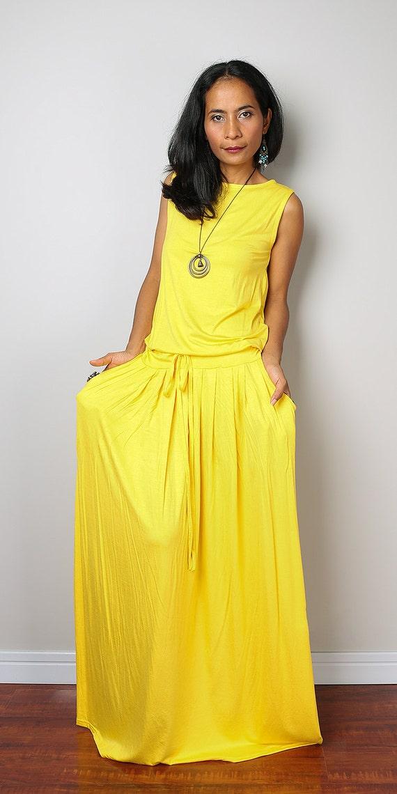 PLUS SIZE Yellow Maxi Dress Sleeveless dress : Autumn