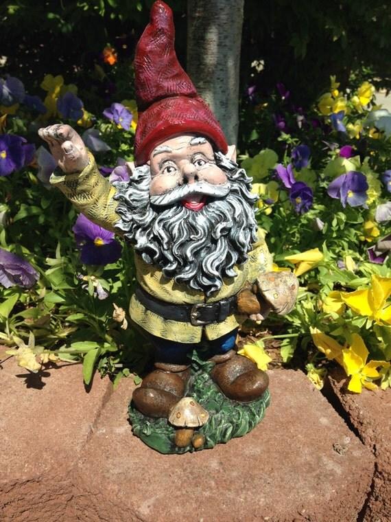 Gnome Garden: Concrete Garden Gnome Red & Yellow Statue