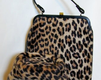 Hollywood Regency 1960's Vintage Leopard Faux Fur Pill Box Hat and Handbag Mid Cen Collectible Old Glamour Style 2 Pc Accessory