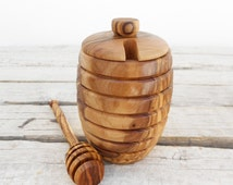 Olive Wood Honey Pot Jar with Honey Dipper Spoon / Wedding Gift