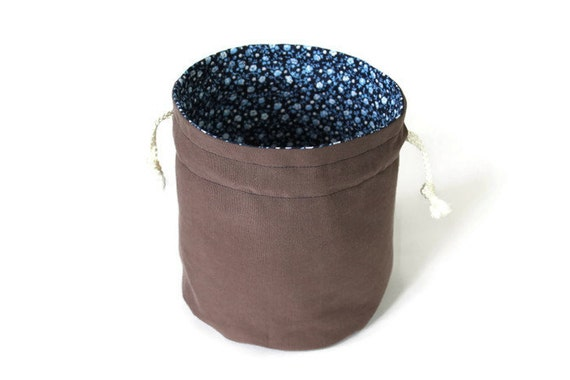 Navy Blue Roses Chocolate Brown Twill Bucket Bag Upcycled Light Blue White Flowers Makeup Travel Tote - US Shipping Included