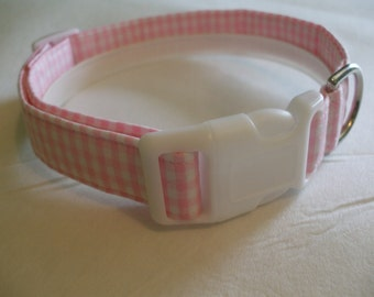 Handmade Cotton Dog Collar - Pink and White Gingham (pink or white buckle)