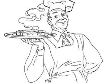The Cook Out - Man Grill Steak - Digital Image - Vintage Art Illustration