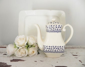 Staffordshire English Ironstone Coffee Pot Tea Pot - Blue and White Ironstone - Made in England