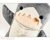 "Shark stuffed animal, Cute shark plush, Kawaii shark toy, 12"" Shark doll, Shark plushie with art print, handmade, boys gift, room decor"