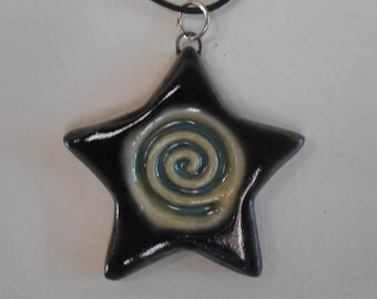 Spiral Star Porcelain Pendant - Gunmetal Green Black
