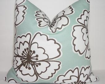 Seafoam Green Large Flower Pillow Cover Decorative Pillow Floral Pillow Cover Size 18x18
