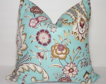 Turquoise Blue Purple Tan Floral Pillow Cover Decorative Linen Flower Pillow Throw Pillow Cover 18x18