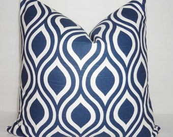 Navy & White Geometric Pillow Cover Ikat Tear Drop Decorative Throw Pillow Cover 18x18