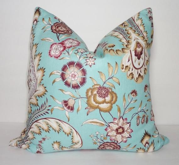 Turquoise Blue Purple Tan Floral Pillow Cover Decorative Linen