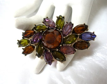 early MONET Rhinestone Brooch julianna navette marquise Excellent