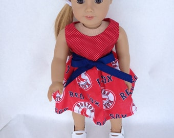 18 inch Doll Dress using all Red Red Sox fabric,  made to fit 18 inch dolls such as American Girl and similar 18 inch dolls