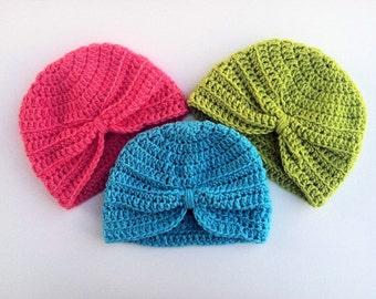 Crochet Baby Turban Set - Crochet Turbans - Crochet Hat - Crochet Beanie - Baby Girl Hats - Turbans