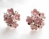Vintage Pink Earrings Enamel Rhinstone Centers Flowers 1950s Bridal Wedding Mother of the Bride