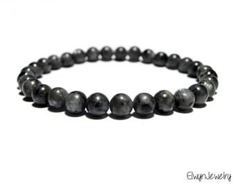 Gemstone Bracelet, Larvikite Bracelet, Men's Bracelet, Mens Beaded Bracelets, Grey Bracelet, Gemstone Jewelry, Mens Gift, Husband Gift