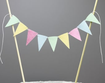 Pastel Cake Topper Banner,  Pink, Mint, Yellow, Blue Baby Shower Decoration, Spring Colors Centerpiece, Party Decoration, Pastel Wedding