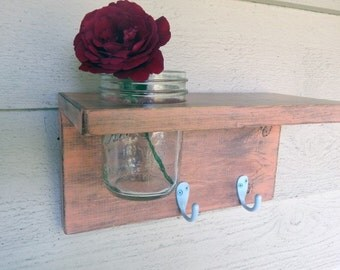 Distressed wood  / Shelf, home decor, shabby chic decor, salmon shelf