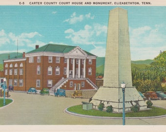 Elizabethton, Tennessee, Carter County Court House, Monument - Linen Postcard - Unused (P)