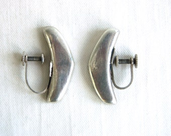 Sterling Silver Screw Back Earrings Mexican Modernist Boomerang Vintage Mexico