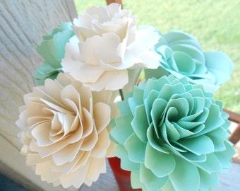 Mint & Ivory Paper Flowers, Half Dozen. Other Colors Available. Centerpiece, Wedding, Paper Flower Bouquet