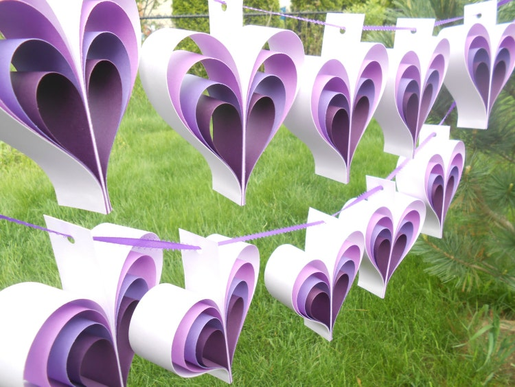 Purple Hearts Wedding TWO Garlands Of PURPLE...