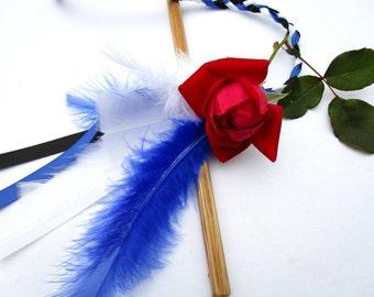 Cat Toy, Ribbon Wand, Oak Handle, Custom Colors