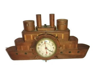 Vintage wooden , paddle wheel boat clock , Nautical Folk Art , light