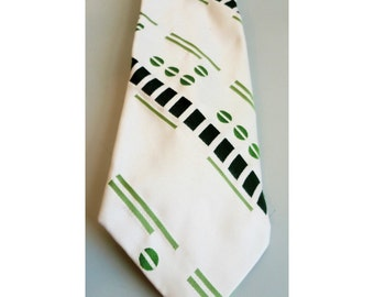 Vintage 1970s White & Green Polyester Wide Tie