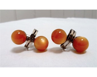 Vintage 70s Orange & Silver Globe Cuff Links