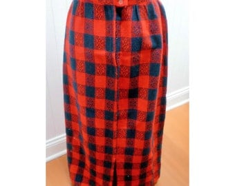 Vintage 1970s Red & Navy Long Skirt - S