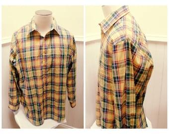 Vintage 80s Yellow Plaid Shirt - XL
