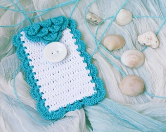SALE White and turquoise phone case Cell phone cover Crochet accessory