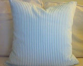 "Aqua Ticking Pillow Cover, Decorative Pillow,  20"", 18"", Aqua and White"