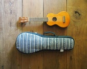 soprano ukulele case - Navy Blue and White Ukulele Bag (Ready to ship)