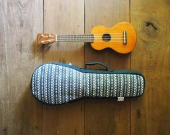 soprano ukulele case - Navy Blue and White Ukulele Bag (Ready to ship)