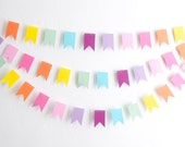 Pastel Rainbow Flag Garland - Mini Paper Bunting -Paper Garland - Baby Shower Decoration