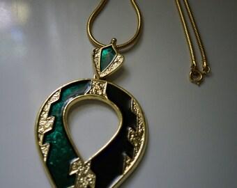 HUGE RUNWAY ENAMEL Necklace, Pendant Medallion, Green and Purple Enamel