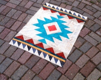 Aztec Tribal Wallhanging//Baby Quilt. Southwestern style/Modern Quilt/ Geometric Quilt
