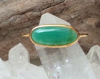 Chrysocolla gem silica amd solid 18k gold ring